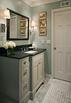potential color scheme for kitchen, cabinets in light taupe neutral, walls in this soft blue and existing black granite counters