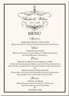 Custom Dinner Menu Card  Calligraphy  Wedding Menu  Event Menu