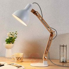 Rural table lamp wood with white - Shivanja country house / vintage / rustic interior lighting Wooden Desk Lamp, Table Lamp Wood, Rustic Wooden Table, Wooden Tables, White Wood Desk, Outdoor Decorative Lights, White Lamp Shade, Contemporary Table Lamps, Diy Chandelier