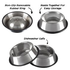 Give your furry friend a safe and mess-free place to enjoy their meals with the Stainless Steel Pet Bowls from PETMAKER. This set of 2 bowls are made from quality and safe stainless steel and feature non-skid bases to prevent spills and messes. Cat Feeding, Pet Bowls, Bowl Set, Dog Food Recipes, Pet Supplies, Stainless Steel, Canning, Pets, Diy Dog