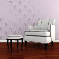 Deco Pearls Damask: This Art Deco inspired wall stencil is ideal for creating a glamorous Hollywood Regency look.