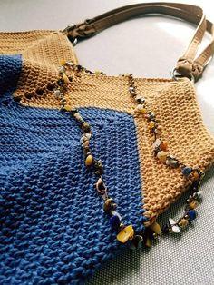 Denim blue camel beige Signature bag crochet shoulder bag