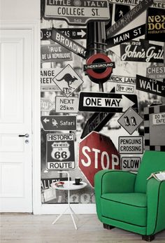Street Signs Mural - Mr Perswall Wallpapers - A fun photo montage of road signs, with some quirky additions. Available in 3 colours – shown in the black and white with red highlights. Total mural size 180 cm wide and 265 cm high. Dream Bedroom, Kids Bedroom, Bedroom Ideas, Bedroom Art, Deco New York, Teenage Room, Street Signs, Boy Room, Home Deco
