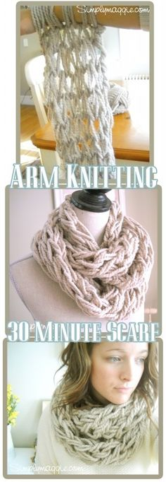 Pinner says: 30 minute scarf. Up my alley. WOW soooooo cute!! It took me about 40 minutes and I love how chunky it is, a bit too loose at the end I began on buy I figured it out as I went, I can't wait to make my sister one for Christmas! I used 1 ball of 106 yd yarn and used the whole thing, but I doubled the string, and did so by pulling from both ends at the same time.