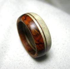 Moose Antler and Wood Ring - Layered Band Ring. $75.00, via Etsy.