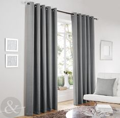 Luxury Herringbone Tweed Silver Grey Curtains - Lined Modern Eyelet Curtains | eBay
