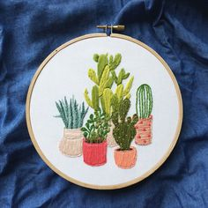 Cactus Embroidery Wall Art by hellohannahlow on Etsy