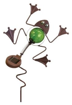 Toland Home Garden Whimsy 241024 Frog Solar Garden Stake Light by Toland Home Garden. $26.99. Whimsy wobber solar garden stake; during the day this whimsy solar lights add personality and color to your yard and garden. Antique style finish is weather resistant and adds a rustic look to the lantern stake. At night the solar charged LED light softly illuminates lawn, flower beds, potted plants, gardens and walkways. This stylish garden accessory features colored bubble-glass v...