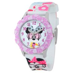 Disney Girls' Minnie Mouse Stainless Steel Glitz Case and Bezel Watch - Multicolor, Girl's, Multi-Colored