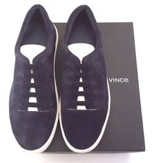 "Vince Navy Suede Slip On Sneaker Details. 9.5M/EUR 41 - per box. *Please know EU sizing for brand* Brand New in Box with Dust Bag. All photos were taken by me and are the actual shoes for sale.  Vince. Navy suede low-top sneakers with a Bone nubuck tongue. **Sizing RUNS LARGE: order 1/2 size down. Would fit size 9 best. ** 1""/25mm midsole (approximately) Rounded toe, padded collar, raised logo at midsole, tonal flat laces Faux Lace-Up Vamp  Rubber sole. NO TRADES!!! No rips/tears/stains…"