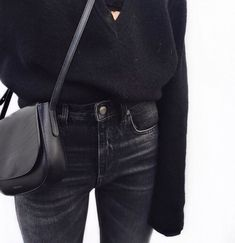 TheyAllHateUs | Page 8 v neck cashmere sweater and faded black jeans and simple cross shoulder purse simple outfit km