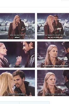 "Hook healing Emma's hand ""I'm always a gentleman."" Haha :)"
