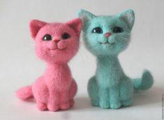 Купить Розовая кошечка. Валяная игрушка из шерсти - кот, котик, котенок…