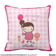 #Custom #Birthday #Girl #Pink #Balloon #Flower #Cartoon #Pillow #kids #babygirl