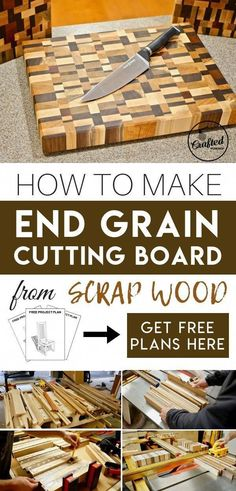 How to make end grain cutting board from scrap wood for your kitchen. How to make end grain cutting board from scrap wood for your kitchen. Hand-made DIY woodworking project ideas, plans and tutorials. Get free plans here! Fine Woodworking, Popular Woodworking, Woodworking Furniture, Woodworking Crafts, Woodworking Classes, Woodworking Machinery, Woodworking Equipment, Woodworking Store, Woodworking Patterns