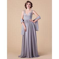Sheath/Column V-neck Floor-length Chiffon Mother of the Bride Dress With A Wrap – USD $ 179.99