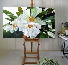 Jenny Fusca - A sunlit spray of Gardenias. It's one red leaf heralding the approach of winter. Stunning white gardenia painting on canvas. Oil Painting Flowers, Artist Painting, Watercolor Flowers, Watercolor Paintings, Floral Paintings, Large Painting, Watercolors, Acrylic Wall Art, Arte Floral