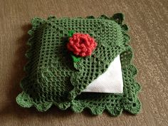 Crocheted paper napkin holder