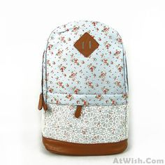 Fashion Pink Floral Print Lace Backpack #backpack #floral