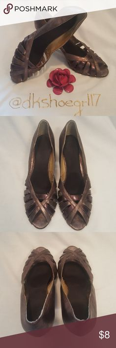 CL by Chinese Laundry Bronze Peep Toe Pumps Bronze peep toe pumps by CL by Chinese Laundry!  Perfect evening heel! Great for cocktail parties or formals!!!  Also looks great with brown dress pants to toss on for the office!!!  Good condition, a few scratches & nicks on heels (see pics). CL by Chinese Laundry Shoes Heels