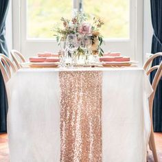 CHOOSE YOUR COLOR! Rose Gold Table runners for vintage Wedding and Events! Custom size sparkle sequin table cloths, tablecloths and linens by SparklePonyShopp on Etsy https://www.etsy.com/listing/235611212/choose-your-color-rose-gold-table