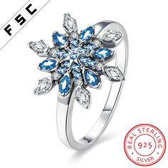New Model Romantic 925 Sterling Silver Blue Zircon Snowflake Engagement Wedding Ring
