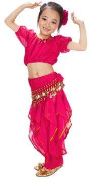 d080bc892249 Little Girl's Ruffle Belly Dance Costume - DARK PINK - $30 - small, med,