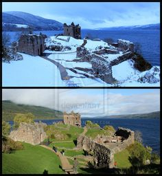 Castle Urquhart in Loch Ness. Photos taken a month apart. The Loch, Castle, Seasons, Deviantart, Mansions, House Styles, Gallery, Photography, Photograph