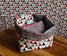 Pack 12 cotons éponges + Panier triangle - Créations bébé - Créations - Le hibou sur le fil