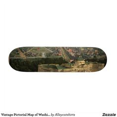 Vintage Pictorial Map of Washington D.C. (1852) Skateboard Deck