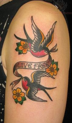 Live Free Swallows Tattoos On Bicep