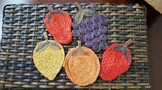FOR SALE: Fun, fruity & summery! - Vintage Set of 5 Woven Raffia Straw Fruit Coasters by SoDarnedVintage on Etsy   #strawdecor #kitchendecor #barcart #happyhour #coasters #fruitdecor #bohostyle #colorfulhome #happyhome #kitchencoasters #etsy