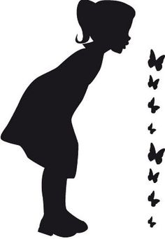 girl and butterflies silhouette Silhouette Projects, Silhouette Design, Black And White Pictures, Black White, Scroll Saw Patterns, Melting Crayons, Artwork Design, Painted Rocks, Illustrations Posters