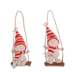 Resin Character Snowman In A Swing Christmas Tree Decoration / Ornament Xmas
