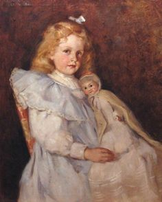 """Young Girl with a Doll"" -- by Elizabeth [O'Sullivan] Curtis (American, born after 1865–died after 1953)"