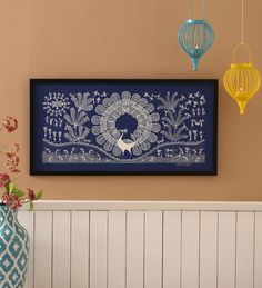 Manomay Kreations Canvas 12 x 2 x 24 Inch Peacock and Other Birds Framed Warli Painting