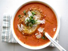 Tomato Basil Soupe and Grilled Cheese