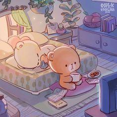 Cute Couple Cartoon, Cute Love Cartoons, Cute Love Gif, Cute Love Pictures, Cute Cat Gif, Cute Bear Drawings, Kawaii Drawings, Bear Wallpaper, Kawaii Wallpaper