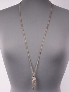 Gold and Rhinestone Double Feather Pendant Necklace