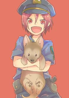 Free! - Iwatobi Swim Club, rin, rin matsuoka, matsuoka, free!, iwatobi, cop, police dog, puppy