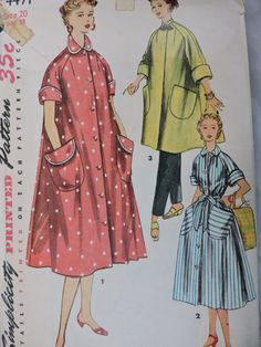 Robe Pattern Housecoat House Dress Misses Complete Size 14 Bust 32 Inches Retro Mode, Vintage Mode, 50s Vintage, Vintage Style, Vintage Dress Patterns, Coat Patterns, Vintage Outfits, Vintage Fashion, Maternity Sewing