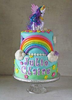 My Little Pony Rainbow Cake with Princess Celestia | http://rosebakes.com/my-little-pony-rainbow-cake-with-princess-celestia/