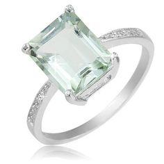 $19.99 - 3.5 Carat Green Amethyst Diamond Accent Sterling Silver Emerald Cut Ring