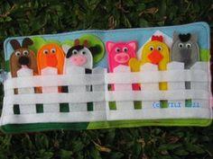 felt finger puppets - barn animals in fence