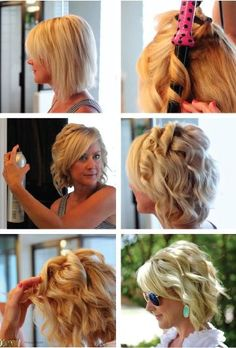 How to Curl Your Hair & Make It Last These effortless beachy waves are perfect for your rustic outdoor wedding. This short bridal hairstyle is filled with tips and tricks for how to help your soft curls last throughout the barn wedding reception! Medium Hair Styles, Curly Hair Styles, Pixie Styles, Short Bridal Hair, Hair Wedding, Wedding Makeup, How To Curl Your Hair, How To Curl Hair With Flat Iron, Curling Hair With Flat Iron