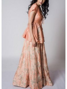 Buy online Tops Skirts - Orange block printed top and skirt from Koashree Long Skirt Top Designs, Long Skirt And Top, Long Skirts, Orange Skirt, Trending Now, Lehenga, Blouse Designs, Gowns, Stylish