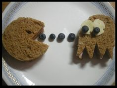 This was my husband lunch, classic pacman sandwiches. He thought it was funny and had a smile on his face.