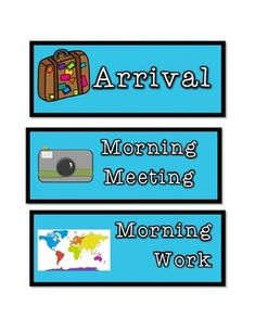Around the World themed blue schedule cards... great for a geography themed classroom!