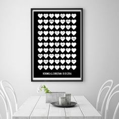 Personalised Heart Wedding Guest Book Poster Print