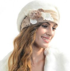 Fashion winter flower beret hat for women winter hats